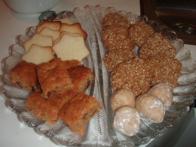 Shortbreads, O/D/C chewies, Protein Peanut Butter Balls (by me); Vegan Sesame Chewie Cookies by Karen C.