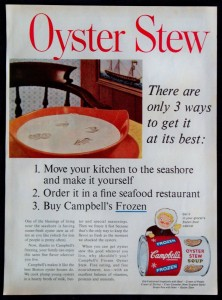 Ad for Campbell's Frozen Oyster Stew, circa 1961